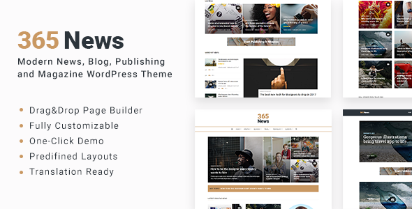 365 News Preview Wordpress Theme - Rating, Reviews, Preview, Demo & Download