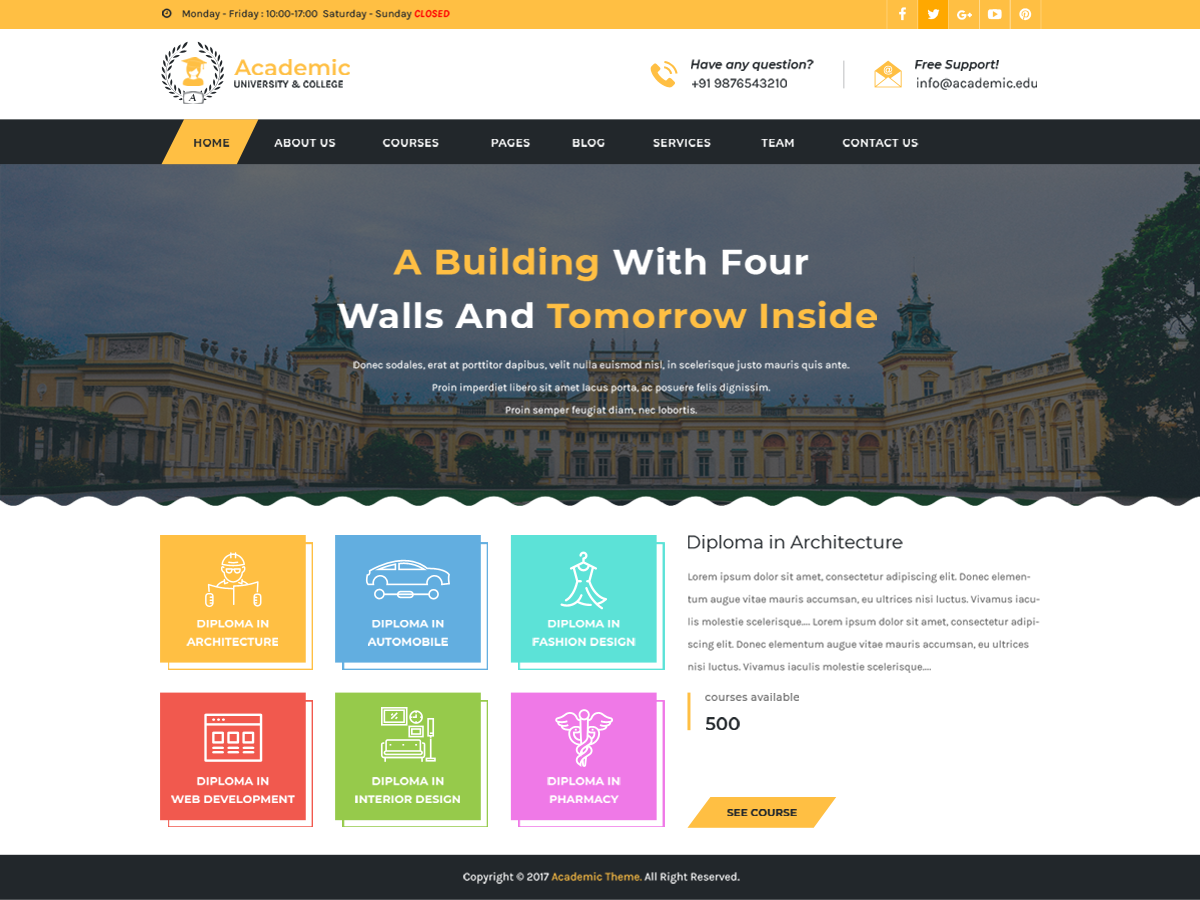 Academic Education Preview Wordpress Theme - Rating, Reviews, Preview, Demo & Download