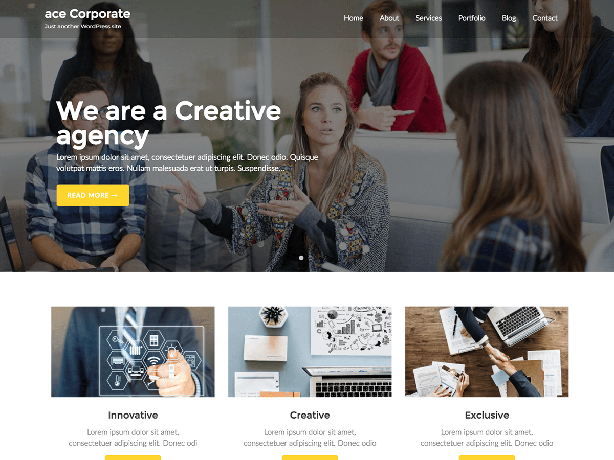 Ace Corporate Preview Wordpress Theme - Rating, Reviews, Preview, Demo & Download