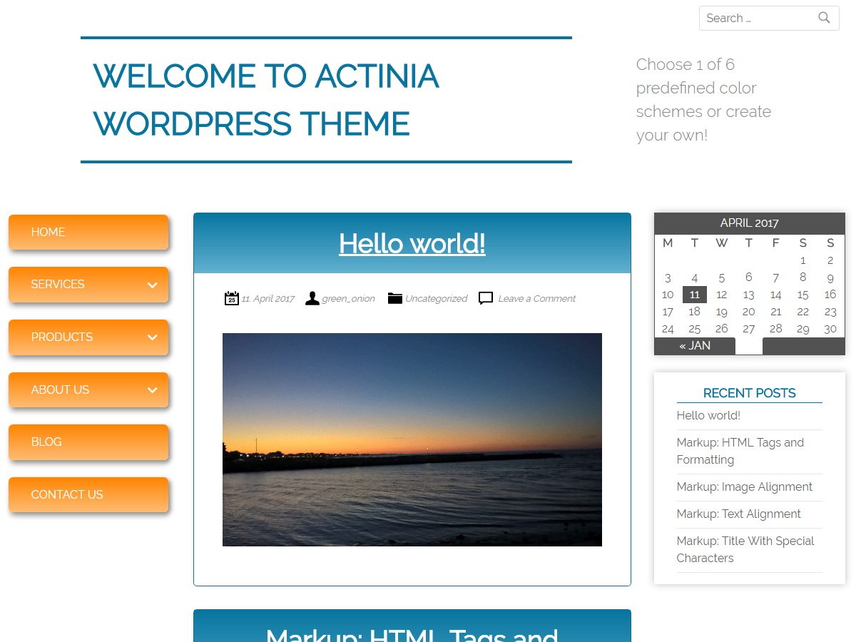 Actinia Preview Wordpress Theme - Rating, Reviews, Preview, Demo & Download