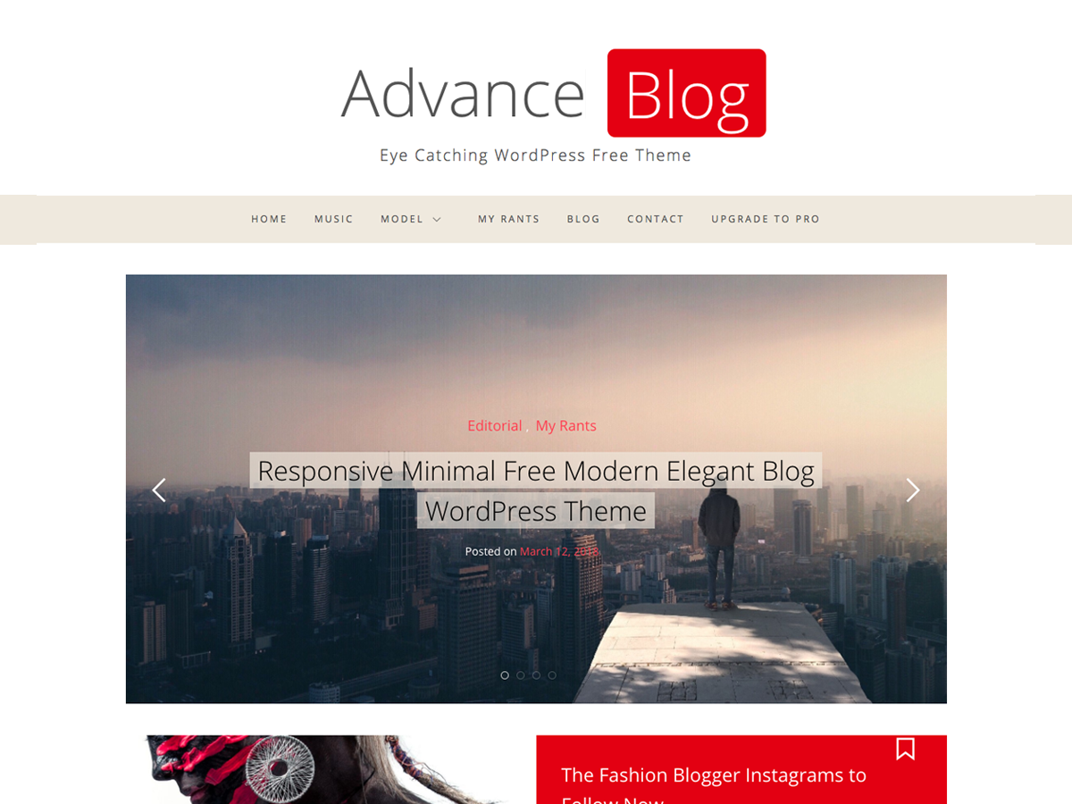 Advance Blog Preview Wordpress Theme - Rating, Reviews, Preview, Demo & Download