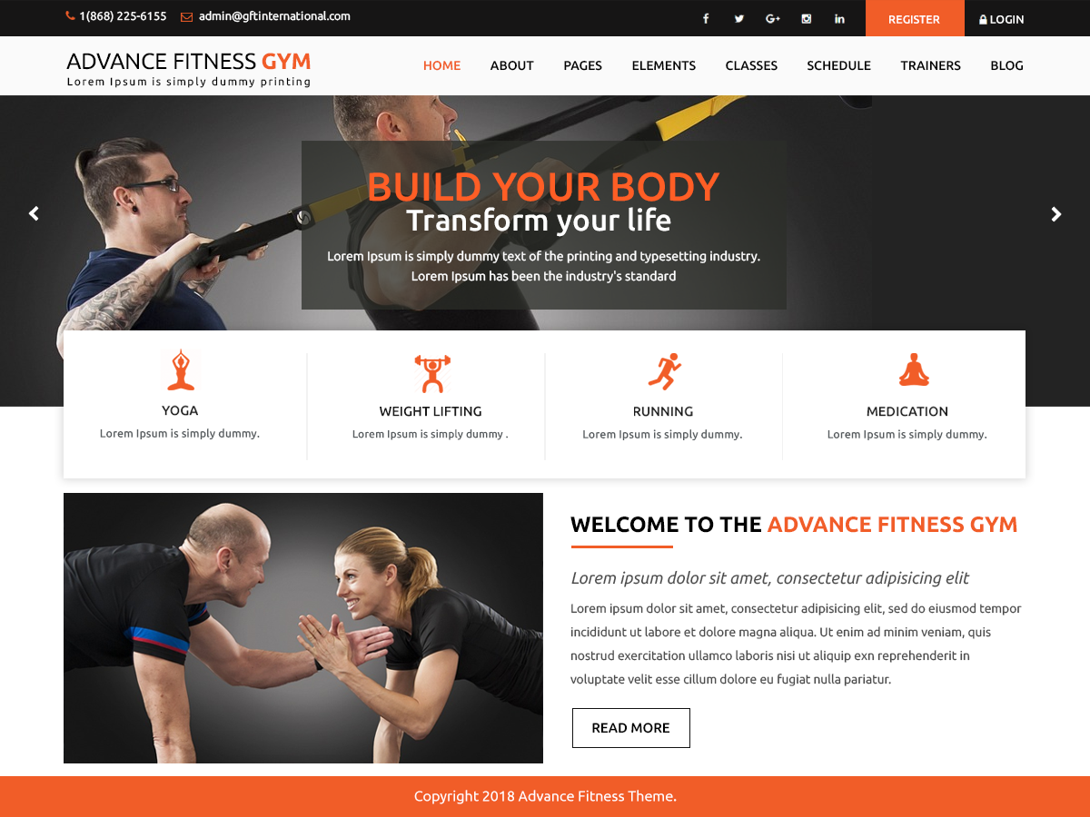 Advance Fitness Preview Wordpress Theme - Rating, Reviews, Preview, Demo & Download