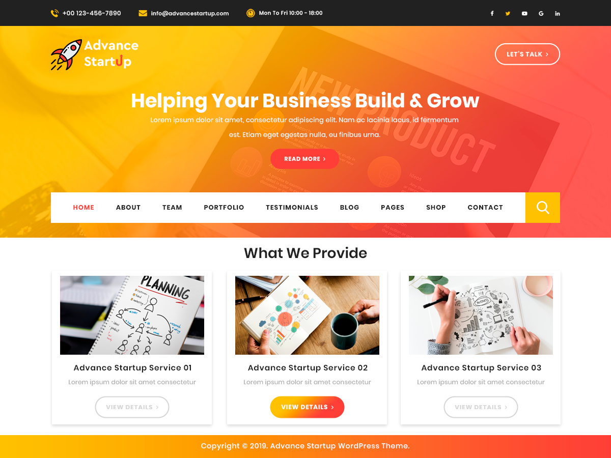 Advance Startup Preview Wordpress Theme - Rating, Reviews, Preview, Demo & Download