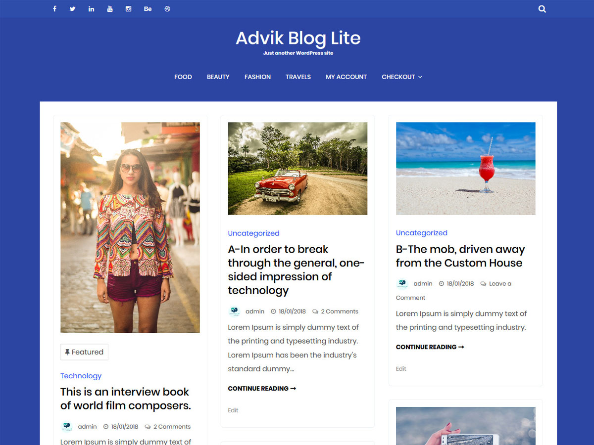 Advik Blog Preview Wordpress Theme - Rating, Reviews, Preview, Demo & Download