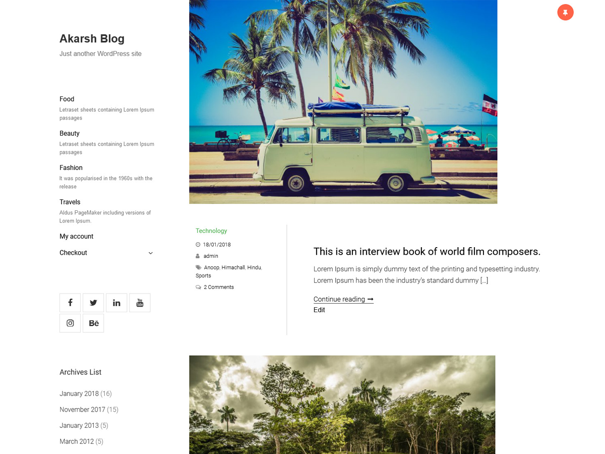 Akarsh Blog Preview Wordpress Theme - Rating, Reviews, Preview, Demo & Download