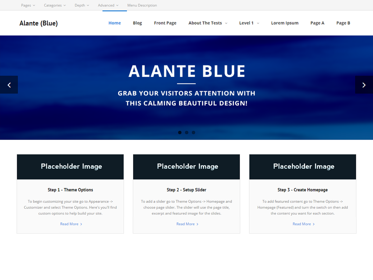 Alante Blue Preview Wordpress Theme - Rating, Reviews, Preview, Demo & Download