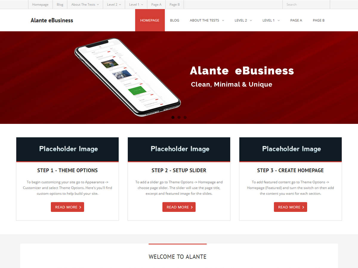 Alante EBusiness Preview Wordpress Theme - Rating, Reviews, Preview, Demo & Download