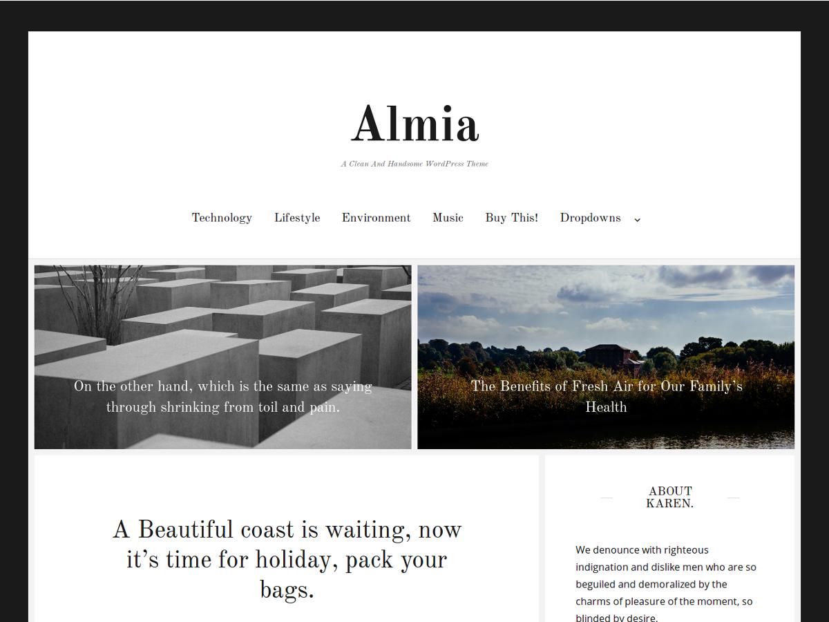 Almia Preview Wordpress Theme - Rating, Reviews, Preview, Demo & Download