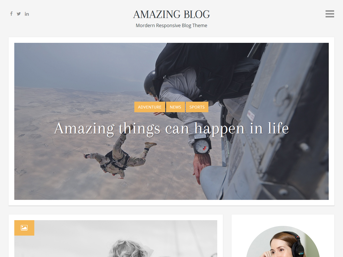 Amazing Blog Preview Wordpress Theme - Rating, Reviews, Preview, Demo & Download