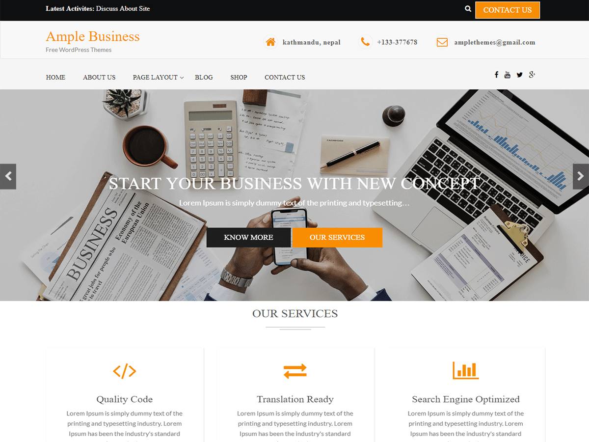 Ample Business Preview Wordpress Theme - Rating, Reviews, Preview, Demo & Download