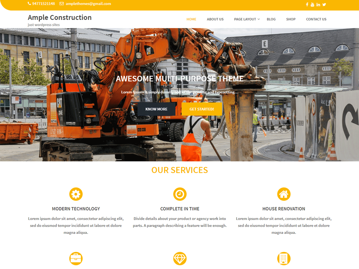 Ample Construction Preview Wordpress Theme - Rating, Reviews, Preview, Demo & Download