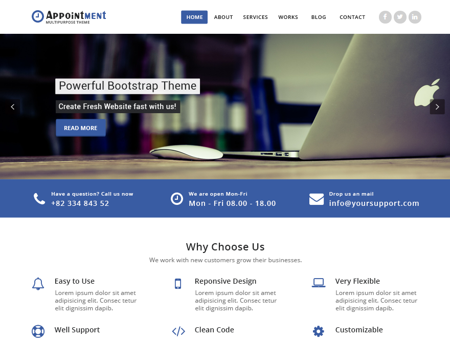 Appointment Blue Preview Wordpress Theme - Rating, Reviews, Preview, Demo & Download