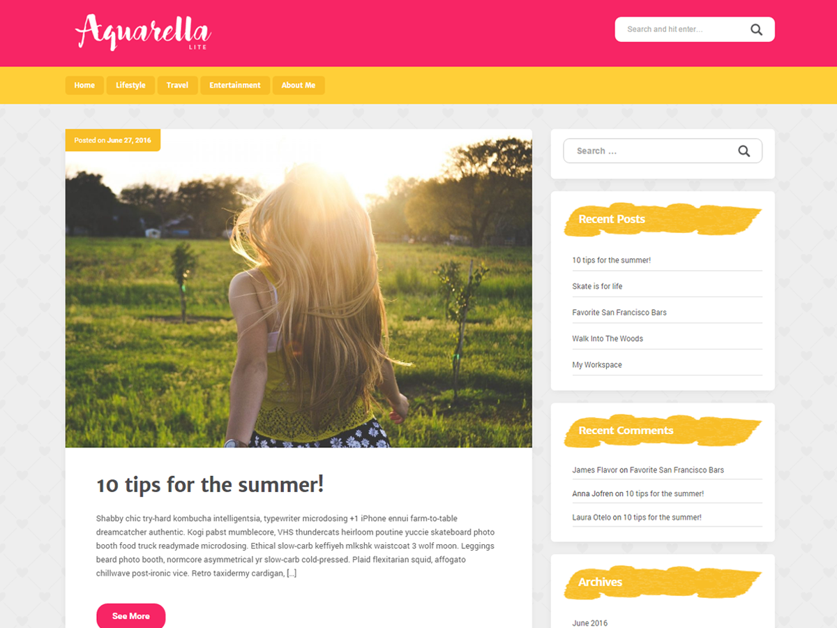Aquarella Lite Preview Wordpress Theme - Rating, Reviews, Preview, Demo & Download