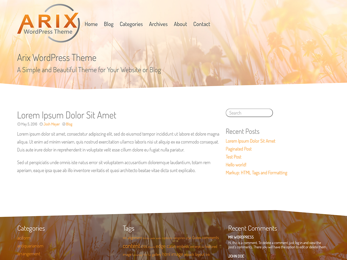 Arix Preview Wordpress Theme - Rating, Reviews, Preview, Demo & Download