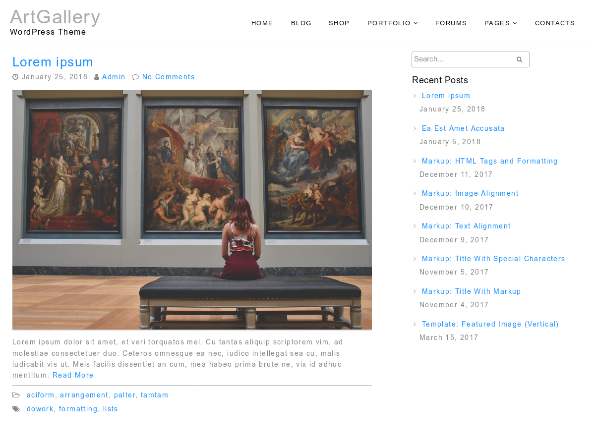 ArtGallery Preview Wordpress Theme - Rating, Reviews, Preview, Demo & Download