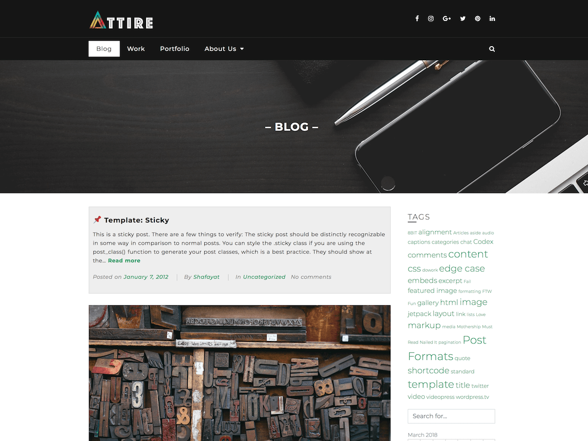 Attire Preview Wordpress Theme - Rating, Reviews, Preview, Demo & Download