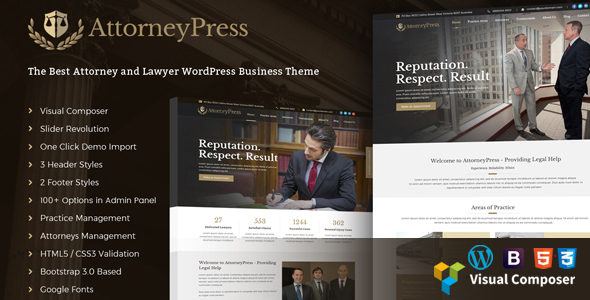 AttorneyPress Preview Wordpress Theme - Rating, Reviews, Preview, Demo & Download