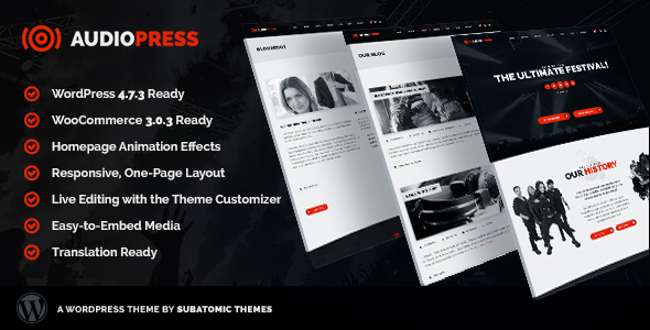 Audiopress Preview Wordpress Theme - Rating, Reviews, Preview, Demo & Download