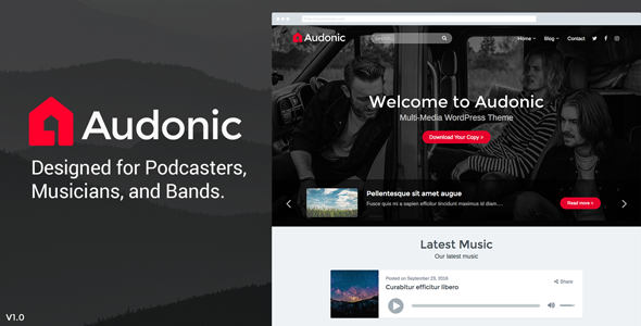 Audonic Preview Wordpress Theme - Rating, Reviews, Preview, Demo & Download