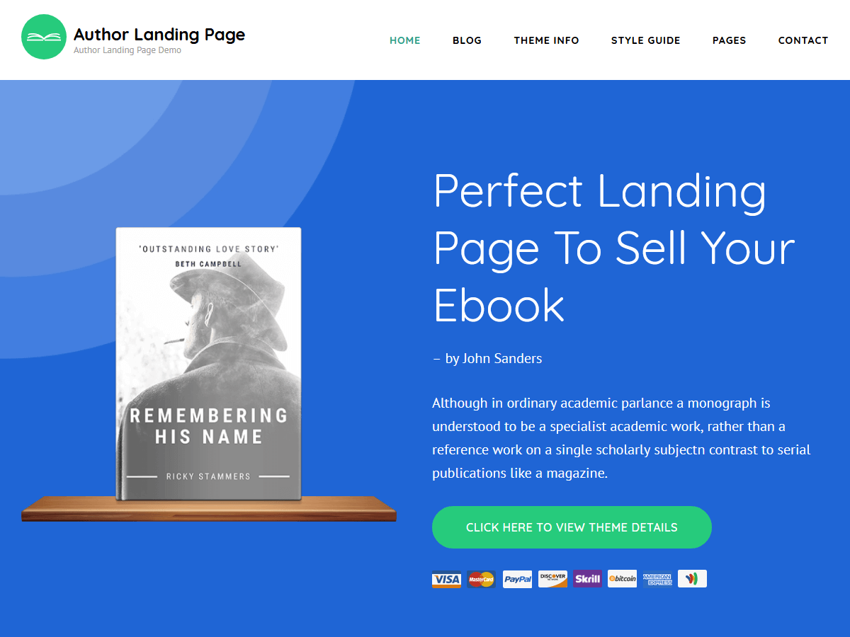 Author Landing Preview Wordpress Theme - Rating, Reviews, Preview, Demo & Download