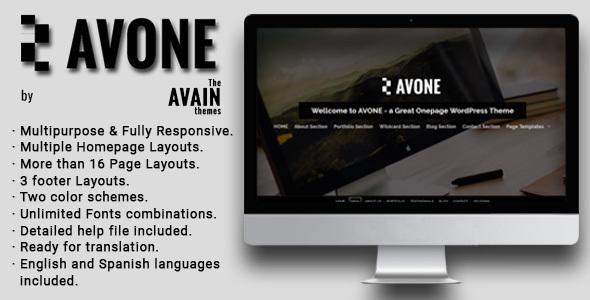 AVONE Preview Wordpress Theme - Rating, Reviews, Preview, Demo & Download