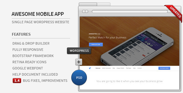 Awesome App Preview Wordpress Theme - Rating, Reviews, Preview, Demo & Download
