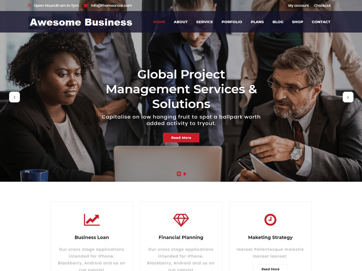 Awesome Business Preview Wordpress Theme - Rating, Reviews, Preview, Demo & Download