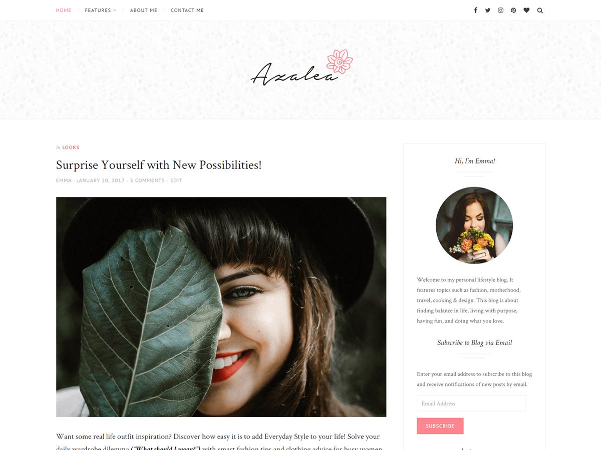 Azalea Preview Wordpress Theme - Rating, Reviews, Preview, Demo & Download