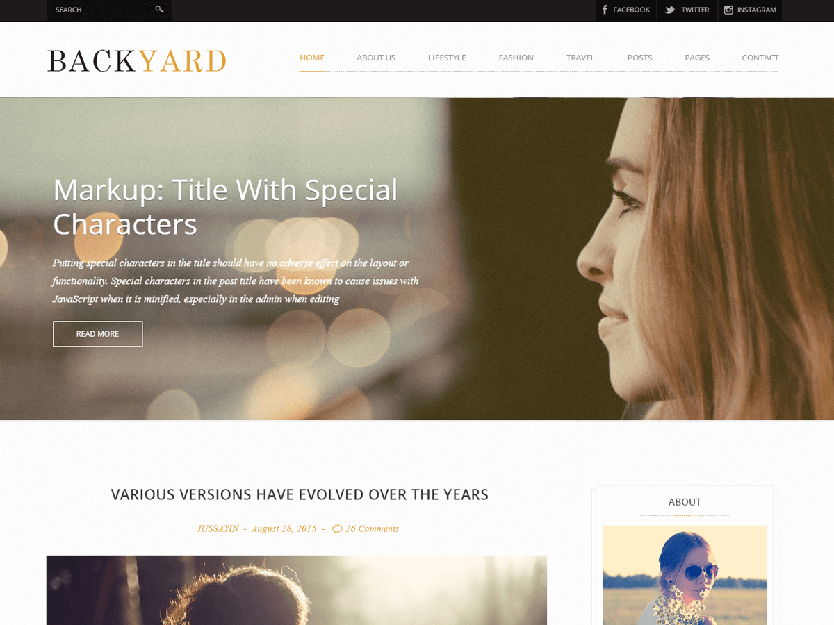 Backyard Preview Wordpress Theme - Rating, Reviews, Preview, Demo & Download