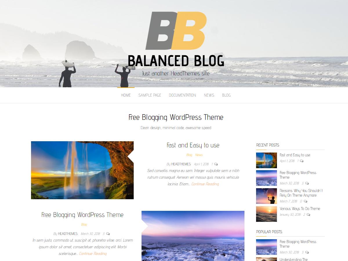 Balanced Blog Preview Wordpress Theme - Rating, Reviews, Preview, Demo & Download
