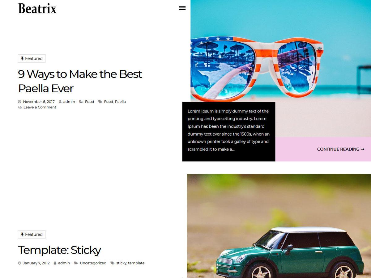 Beatrix Lite Preview Wordpress Theme - Rating, Reviews, Preview, Demo & Download