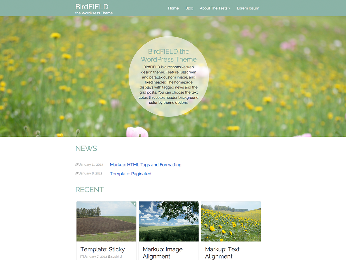 BirdFIELD Preview Wordpress Theme - Rating, Reviews, Preview, Demo & Download