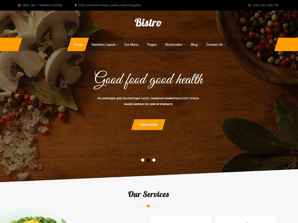 Bistro Lite Preview Wordpress Theme - Rating, Reviews, Preview, Demo & Download