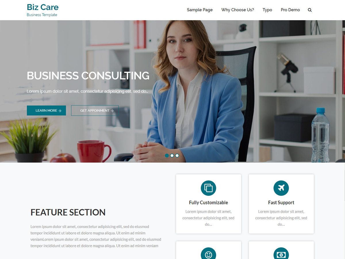 BizCare Preview Wordpress Theme - Rating, Reviews, Preview, Demo & Download