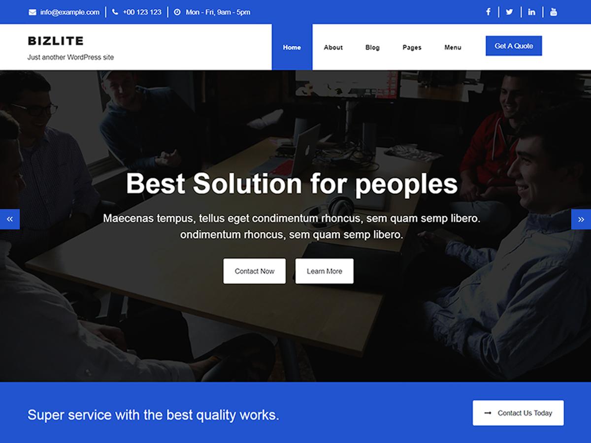 Bizlite Preview Wordpress Theme - Rating, Reviews, Preview, Demo & Download
