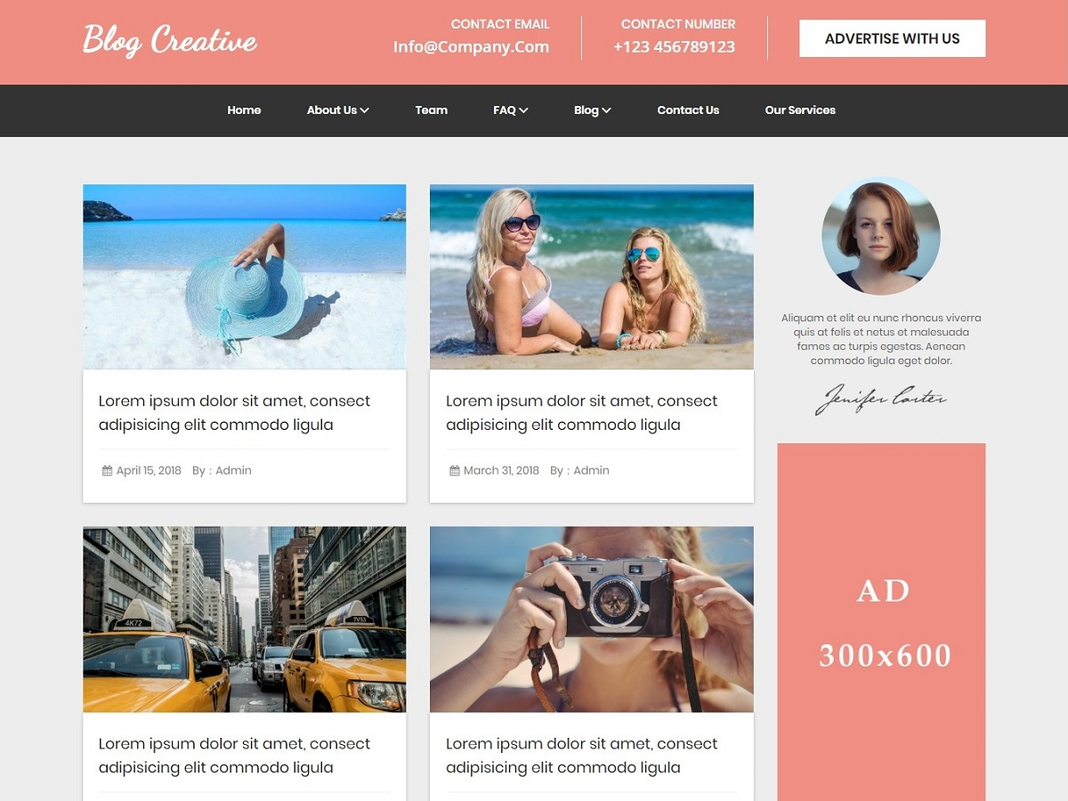 Blog Creative Preview Wordpress Theme - Rating, Reviews, Preview, Demo & Download