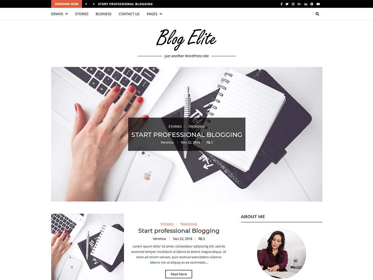 Blog Elite Preview Wordpress Theme - Rating, Reviews, Preview, Demo & Download