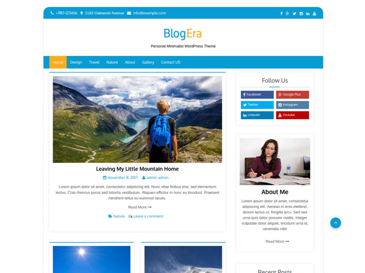 Blog Era Preview Wordpress Theme - Rating, Reviews, Preview, Demo & Download