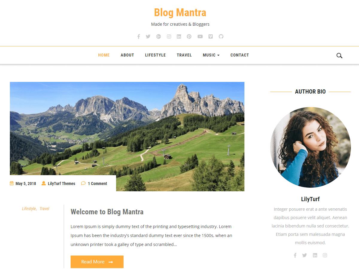 Blog Mantra Preview Wordpress Theme - Rating, Reviews, Preview, Demo & Download