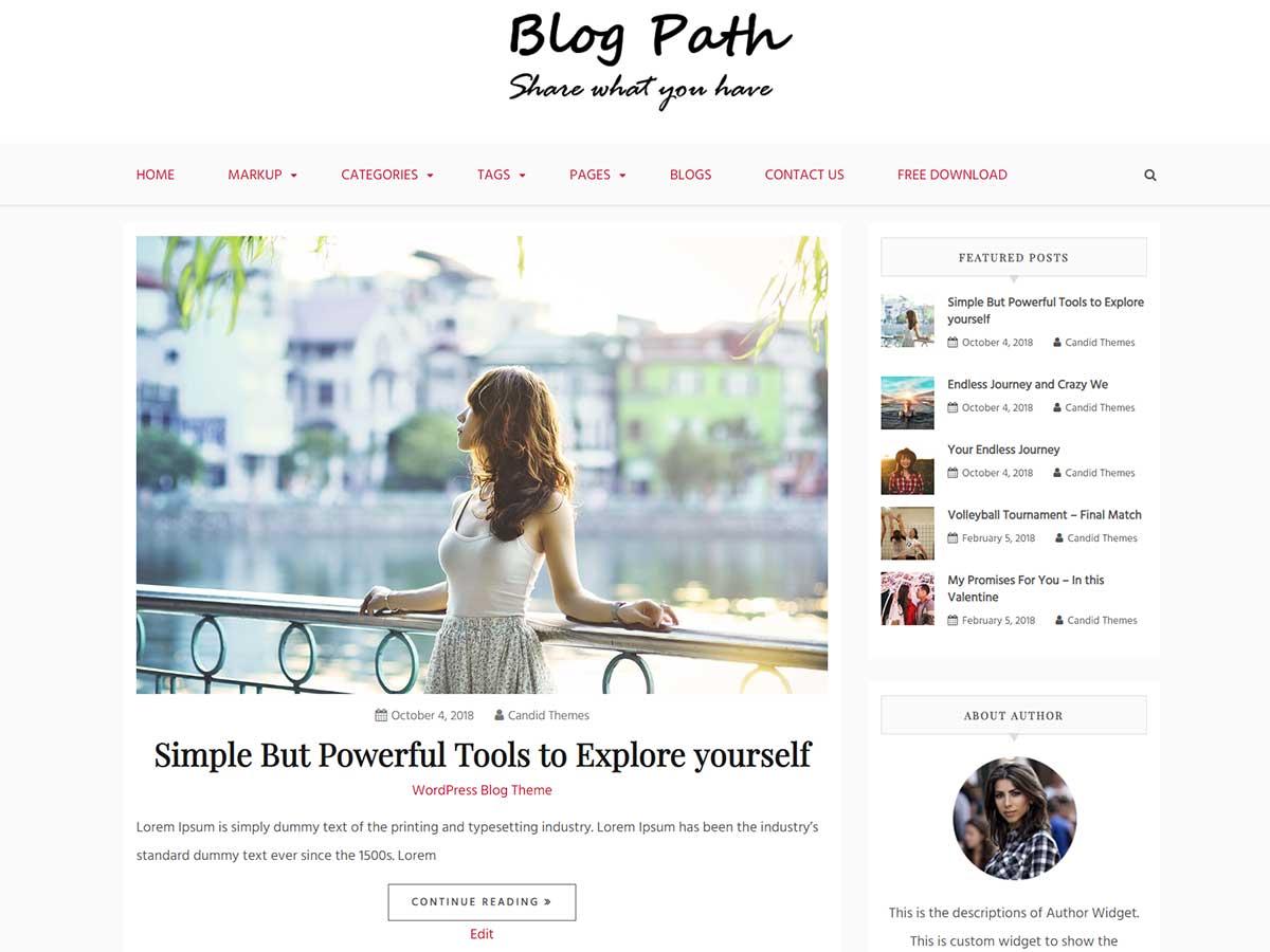 Blog Path Preview Wordpress Theme - Rating, Reviews, Preview, Demo & Download