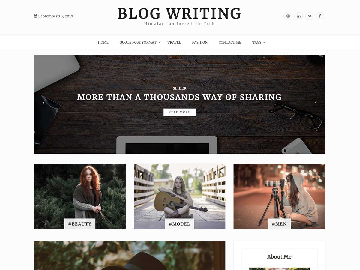 Blog Writing Preview Wordpress Theme - Rating, Reviews, Preview, Demo & Download