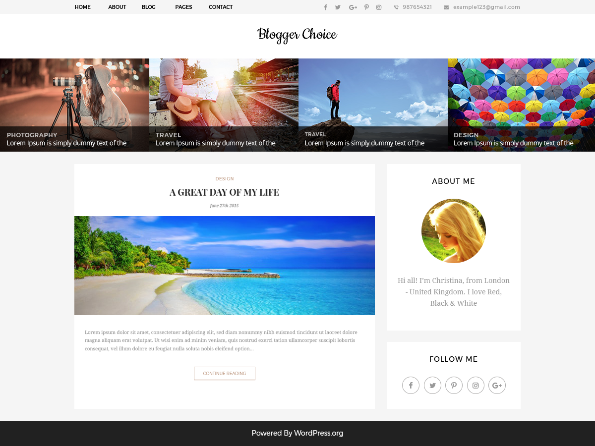 Blogger Choice Preview Wordpress Theme - Rating, Reviews, Preview, Demo & Download