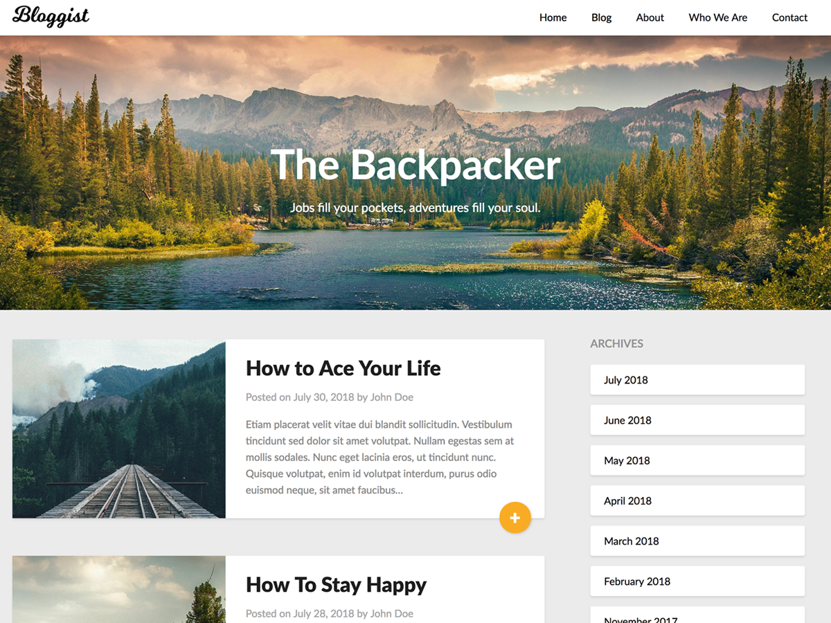 Bloggist Preview Wordpress Theme - Rating, Reviews, Preview, Demo & Download