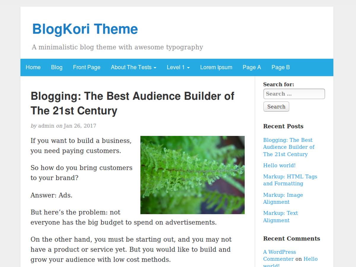 BlogKori Preview Wordpress Theme - Rating, Reviews, Preview, Demo & Download