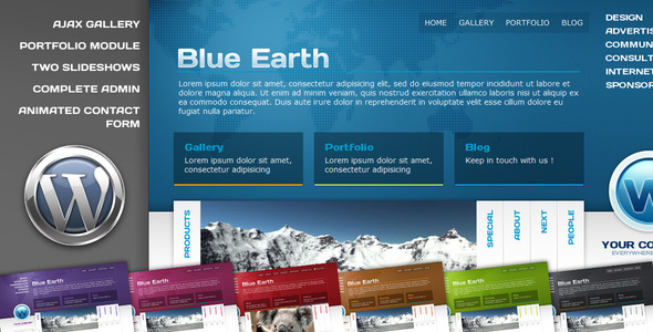 Blue Earth Preview Wordpress Theme - Rating, Reviews, Preview, Demo & Download
