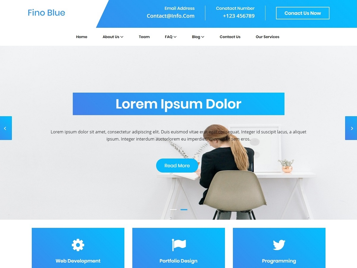 Blue Fino Preview Wordpress Theme - Rating, Reviews, Preview, Demo & Download