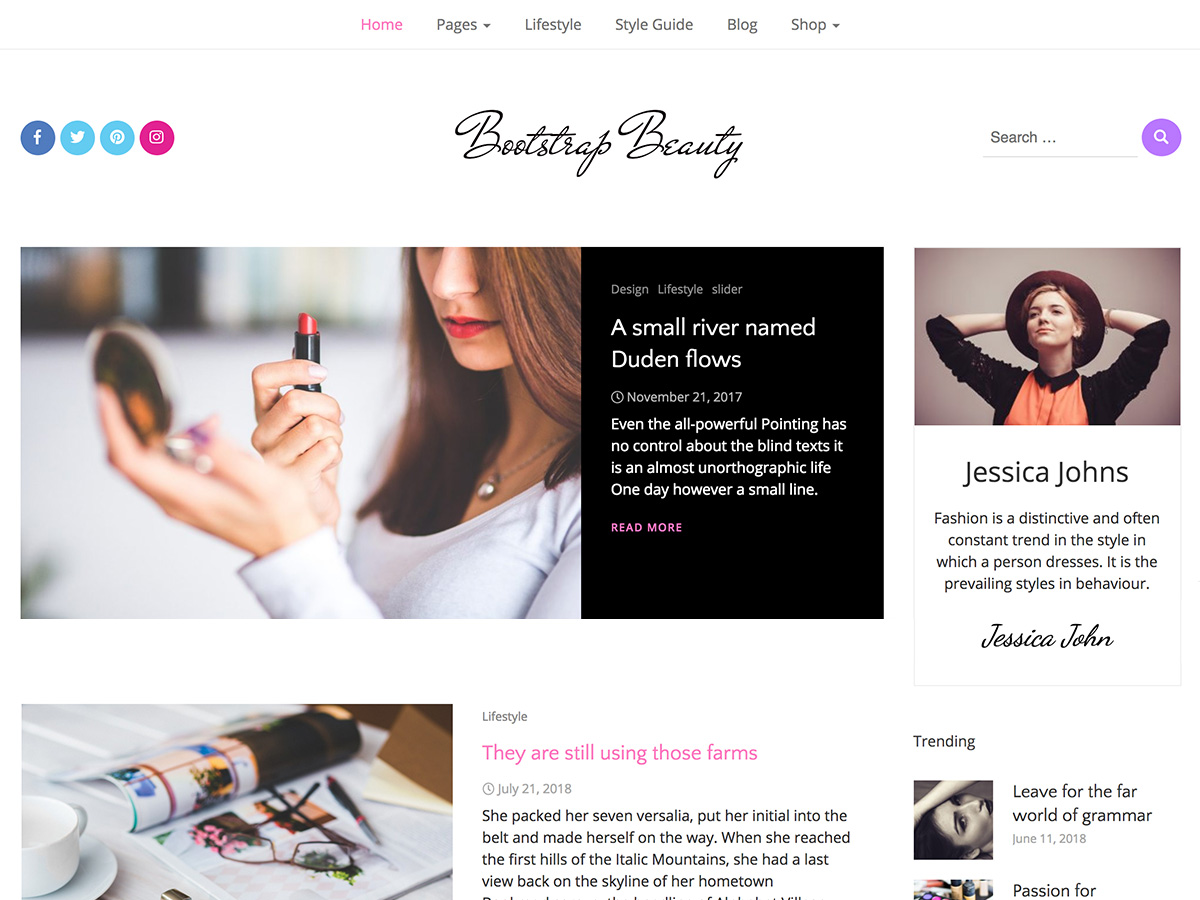 Bootstrap Beauty Preview Wordpress Theme - Rating, Reviews, Preview, Demo & Download