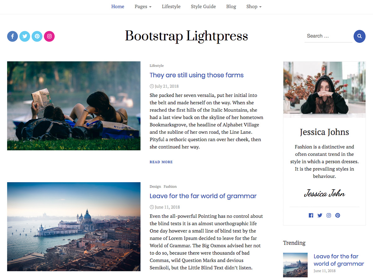 Bootstrap Lightpress Preview Wordpress Theme - Rating, Reviews, Preview, Demo & Download