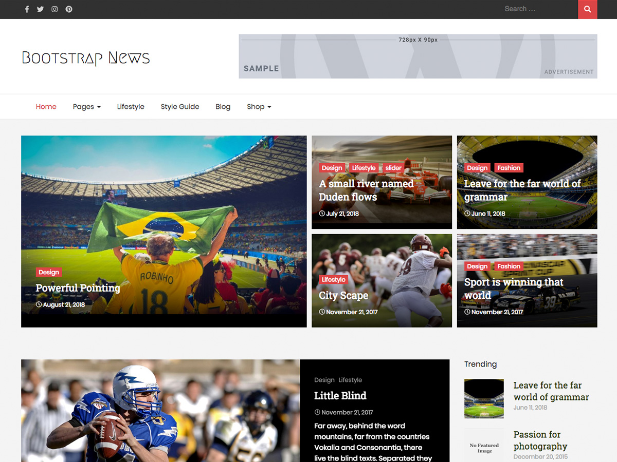 Bootstrap News Preview Wordpress Theme - Rating, Reviews, Preview, Demo & Download