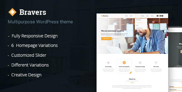 Bravers Preview Wordpress Theme - Rating, Reviews, Preview, Demo & Download